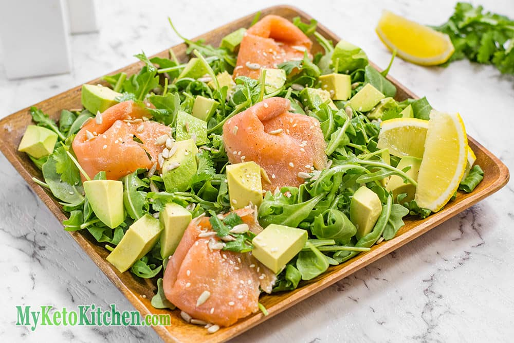 Smoked Salmon, Avocado & Rocket Salad (Low Carb, Keto, Paleo, Gluten Free)