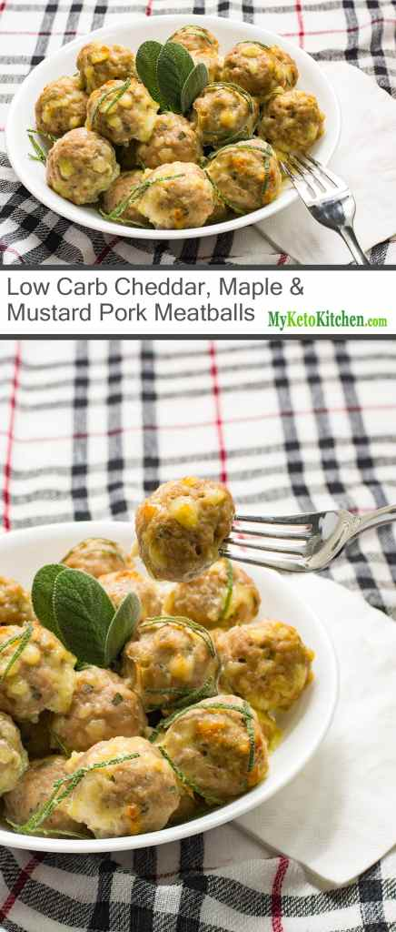 Low Carb Cheddar, Maple & Mustard Pork Meatballs (Gluten Free, Grain Free, Keto)