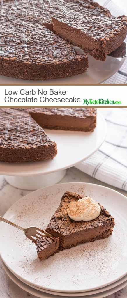 Low Carb No-Bake Chocolate Cheesecake [Gluten Free, Keto, Sugar Free]
