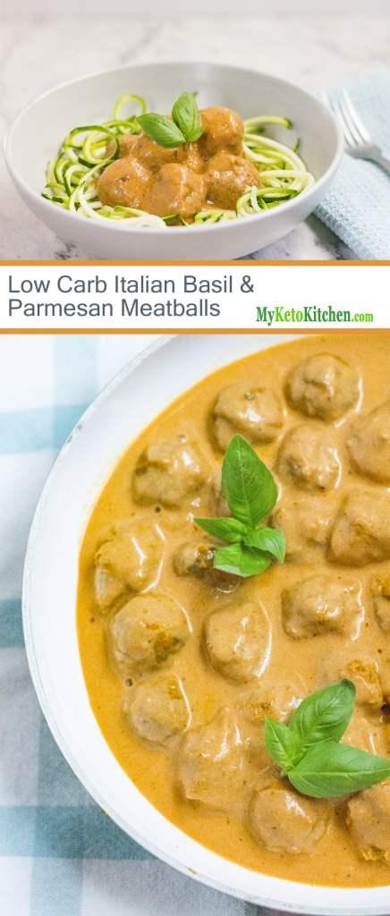 Low Carb Italian Basil & Parmesan Meatballs [Keto, Gluten Free]