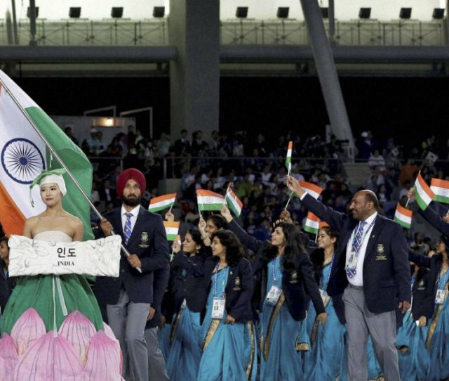 File Photo Hockey India Player Sardar Singh Carrying The Indian Flag At The Opening Ceremony
