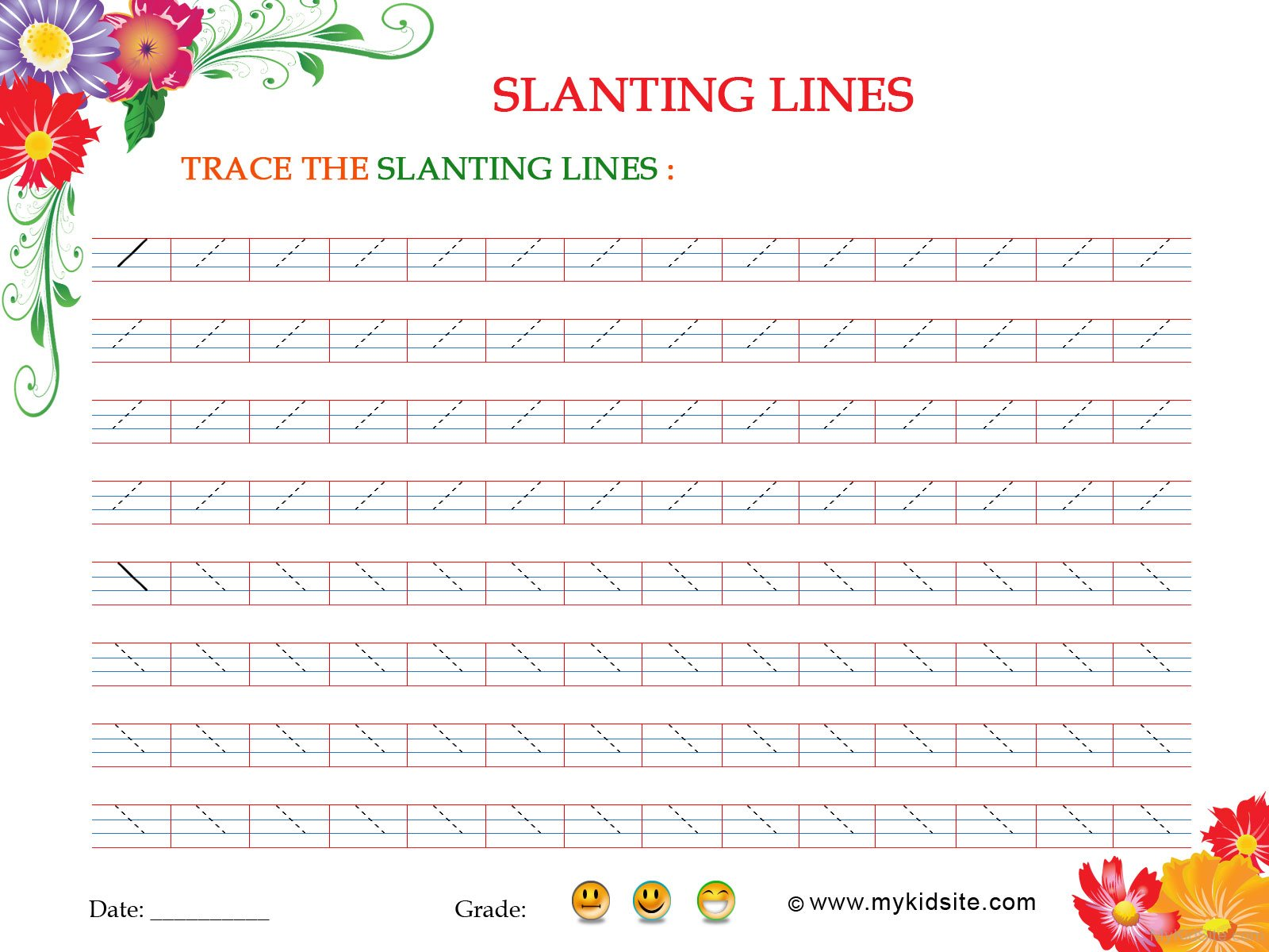Slanting Lines Worksheet