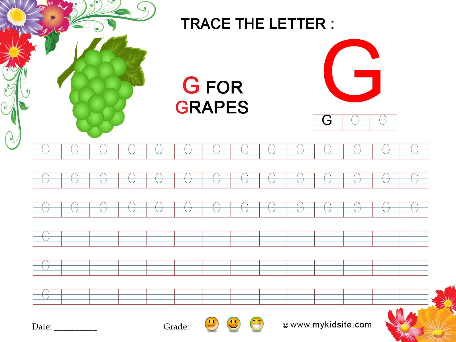Tracing Worksheet For Letter G