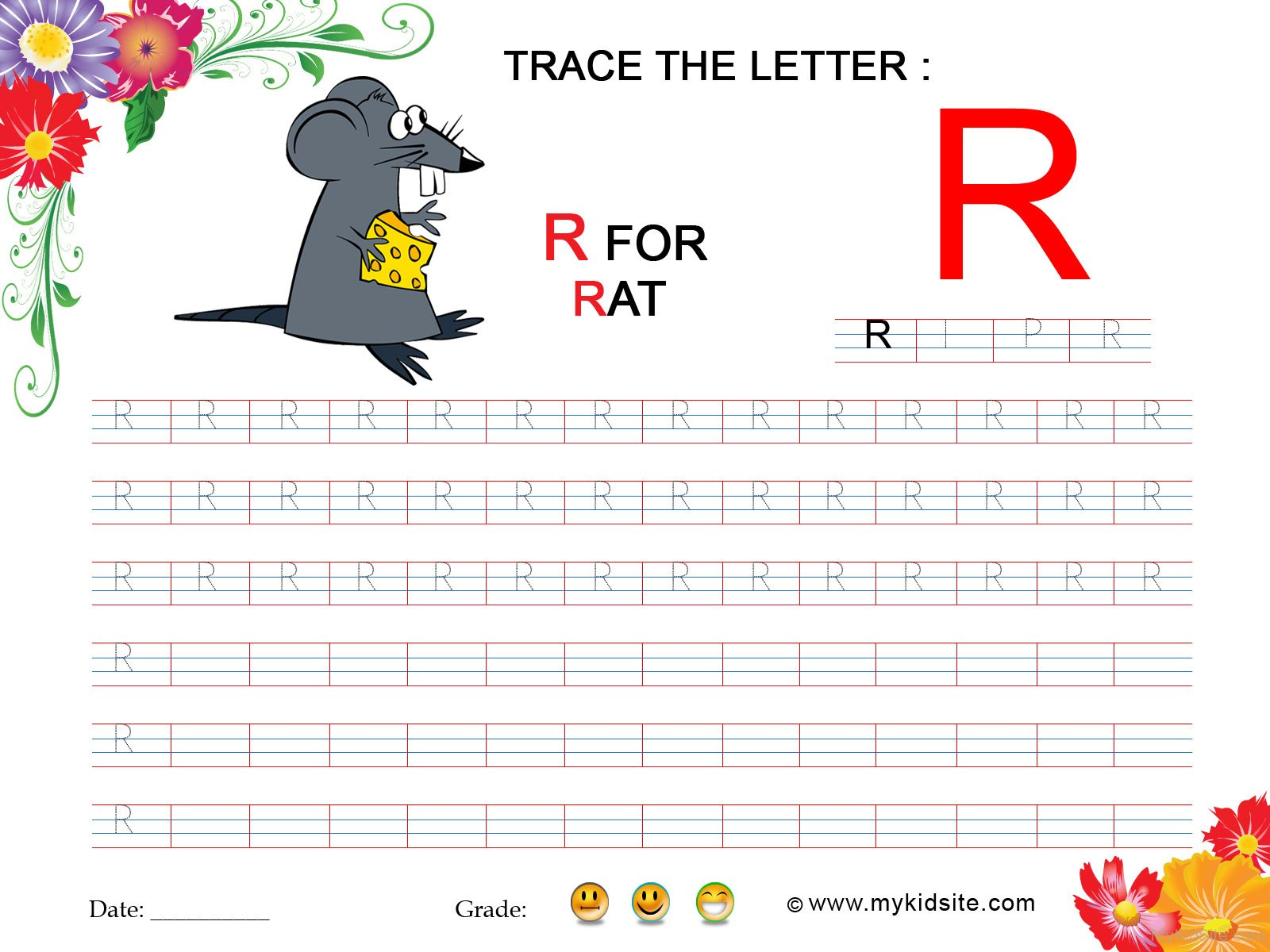 Tracing Worksheet For Letter R
