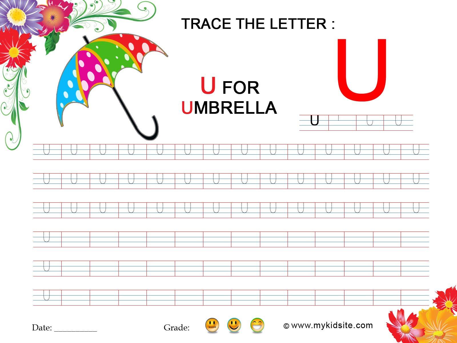 Tracing Worksheet For Letter U