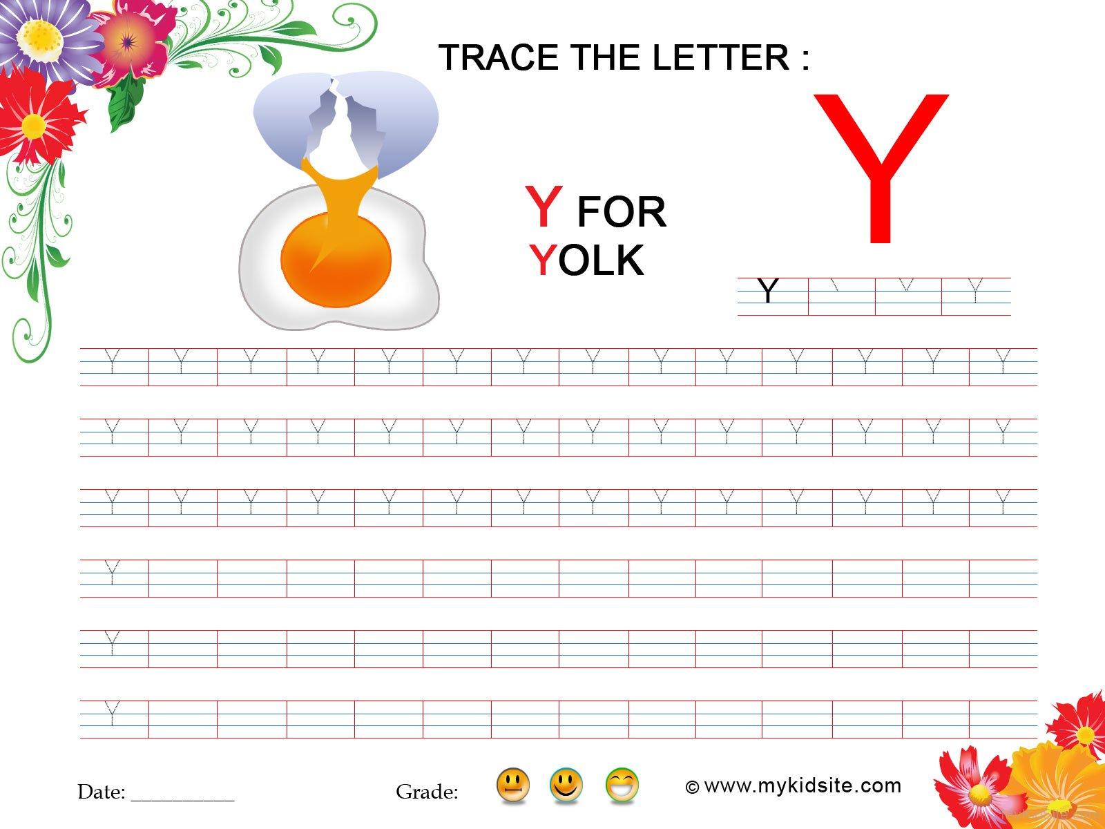 Tracing Worksheet For Letter Y