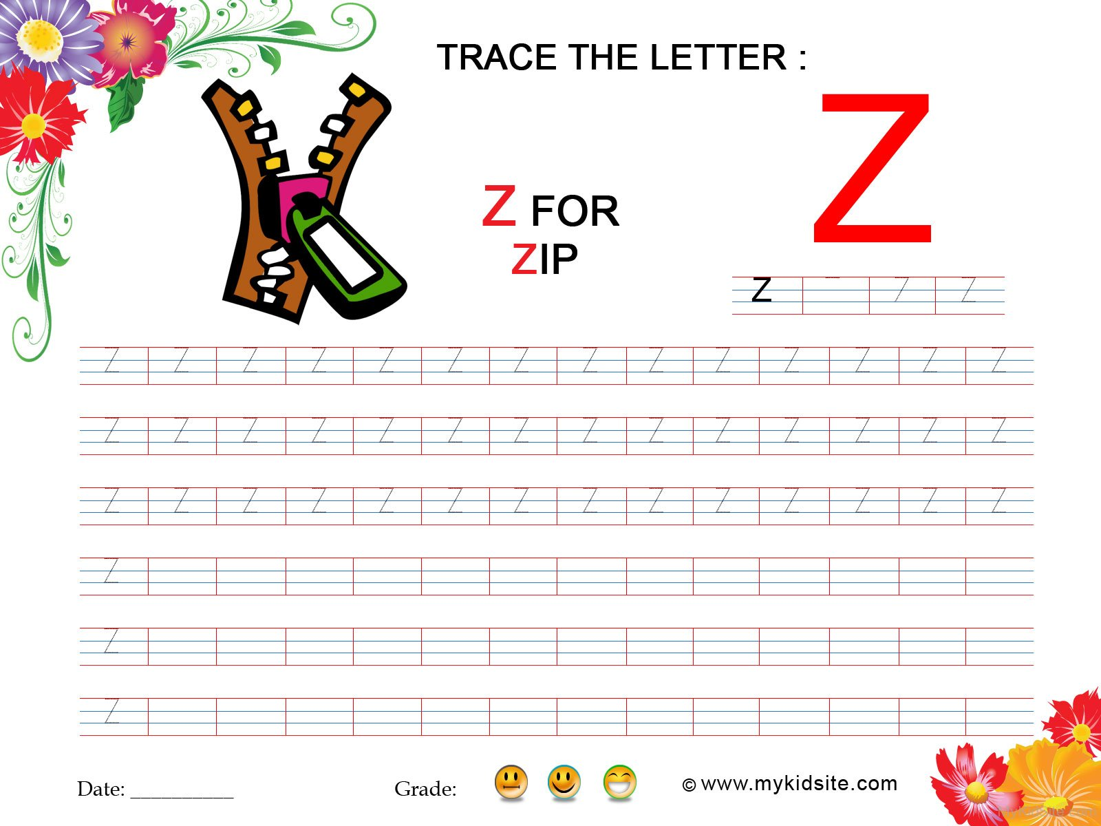 Tracing Worksheet For Letter Z