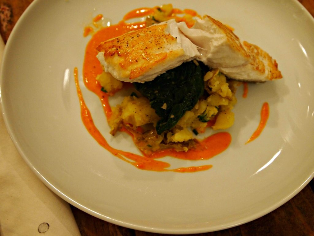 Halibut with Spinach, Potatoes, and Charred Tomato Vinaigrette