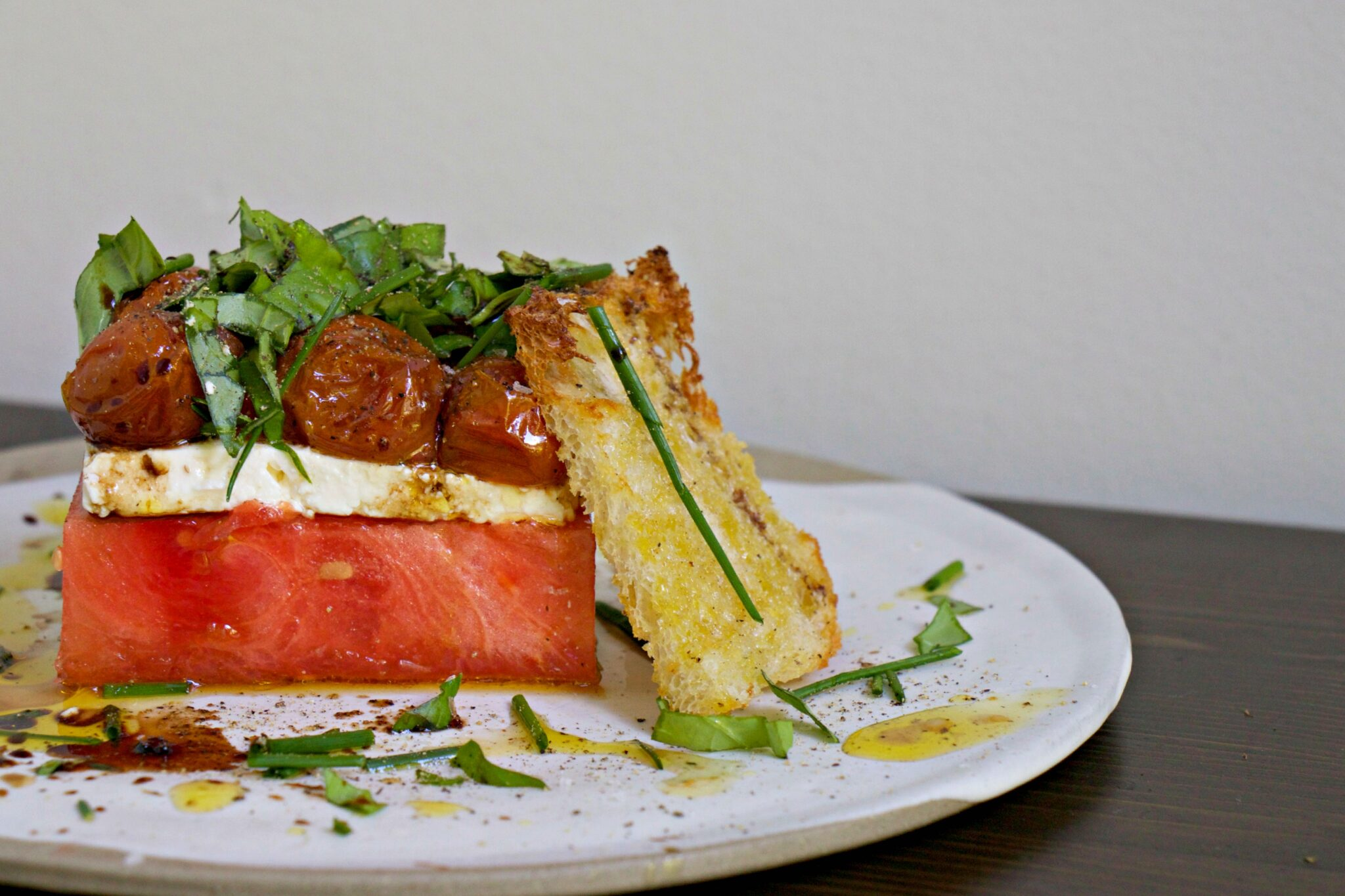 Watermelon, Feta, and Confit Tomato Stacked Salad - My Kitchen Love Blog