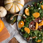 Persimmons and Watercress Salad with Candied Walnuts and Goat's Cheese