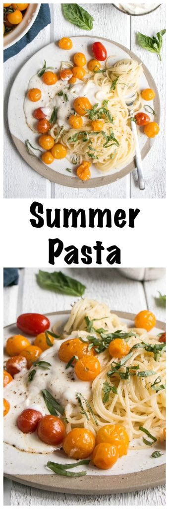 Summer Tomato Pasta | My Kitchen Love. Ready by the time the water is boiled, this Summer fresh pasta is filled family friendly tomatoes and creamy whipped ricotta.