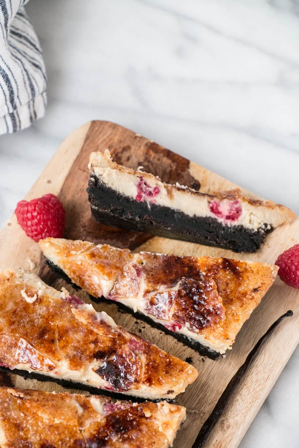 Black Bottom Raspberry Vanilla Crème Brûlée Bars for 2