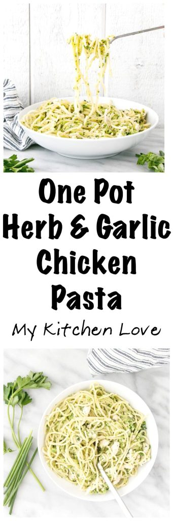 Long pin of One Pot Herb and Garlic Chicken Pasta