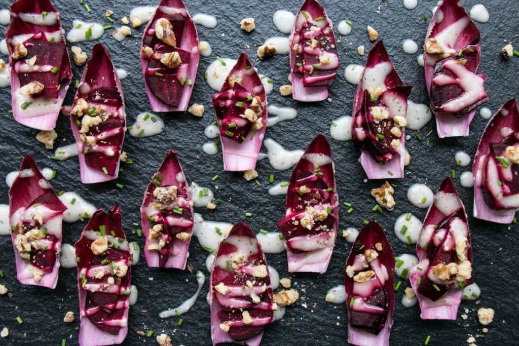 Endive Beet Bites | My Kitchen Love. Easy and stunning #appetizer that would be dreamy for a shower or party!! #partyfood #ad