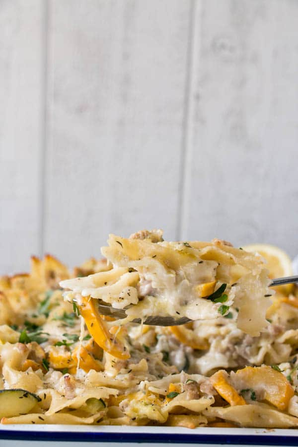 Summer Squash Casserole. Cheesy, comfort food with boat loads of zucchini!