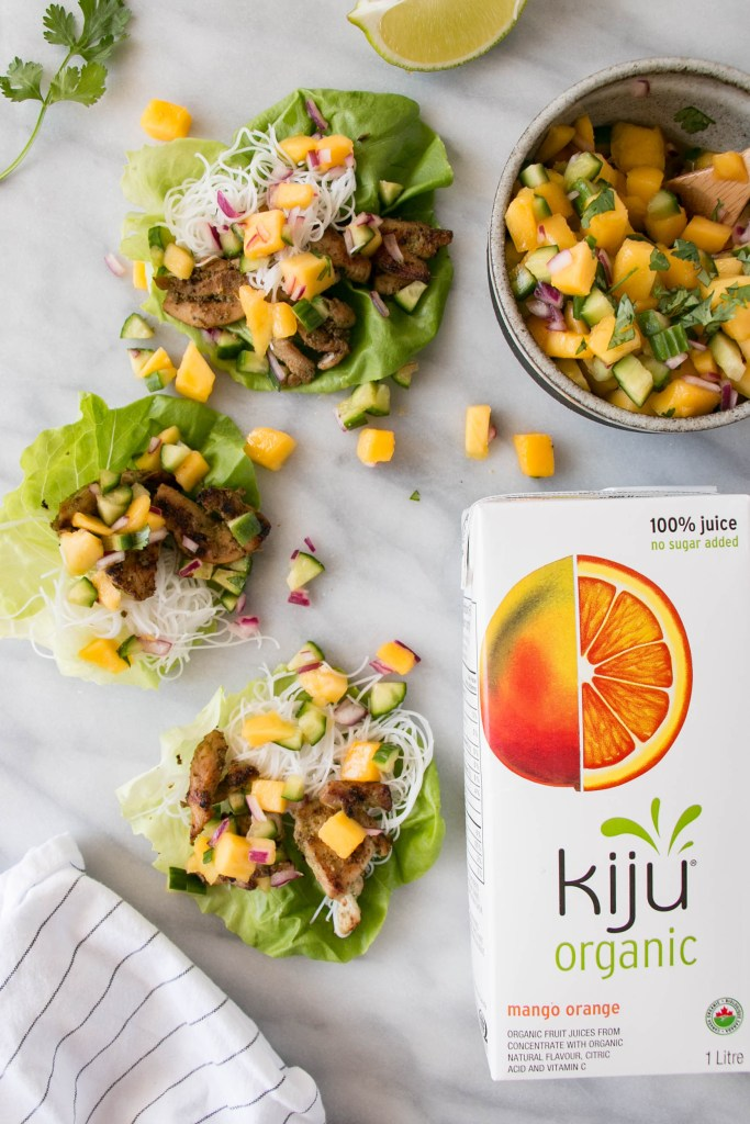 Mango Lemongrass Lettuce Cups are a delicious way to fit more wholesome foods into dinner that kids love! Sponsored by Kiju Organic Juices.