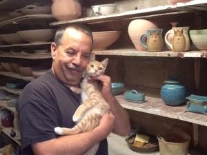cat coffee mugs, Russell Pulick studio.