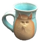 cat coffee mug, turquoise