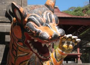 Bali temple cat sculpture
