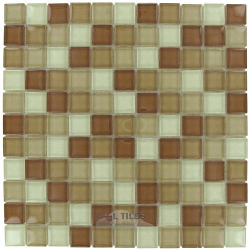 square glass tile 1 x 1 glossy thick glass mosaic in sand blend optimal tile