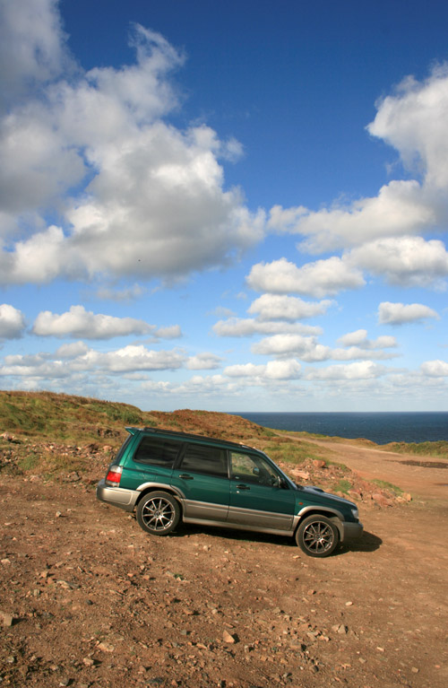 Forester on the cliff tops above Levant Tin Mine, Cornwall