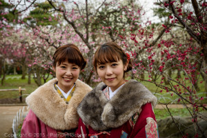 Young ladies in kimono in front of the flowers at the Kitano Tenmangu Plum garden