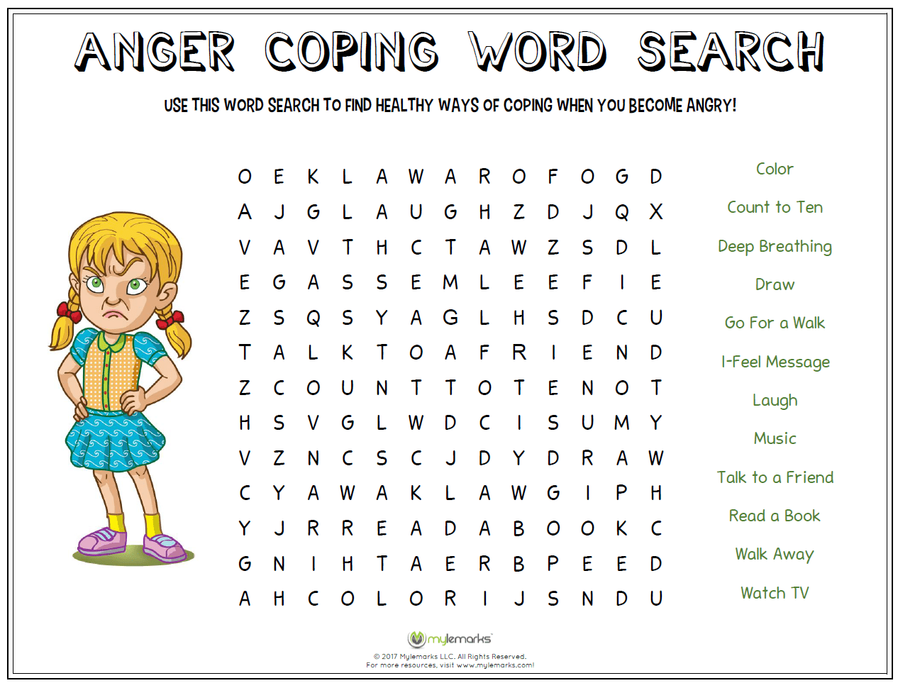 Anger Coping Word Search