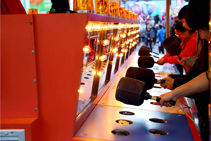 A Whack a mole game at carnival