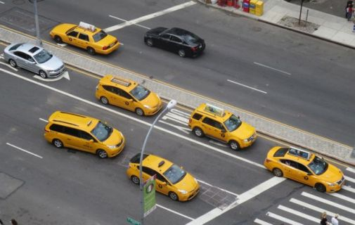 Taxis on Houston Street