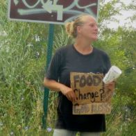 The atypical homeless lady: white and blond