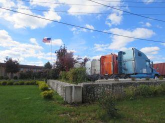 Landscaped truck depot