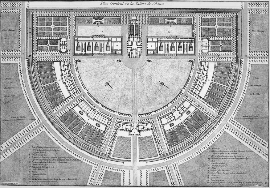 Plan for the factory and community at Act et Senans in France, designed in 1771 by Claude-Nicolas Ledoux. Note the panoptic arrangement. The factory is above the semicircular courtyard. The worker housing is ringed around the semicircle. The intendant's office is at the top, in the center. From his office, he can survey his workers in panoptic fashion. Ledoux envisioned his factory as a self-contained utopia. Dystopic panopticon or utopic society? Arc et Senans is both.