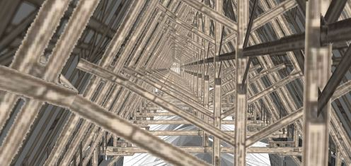 Wood rafters inside the roof