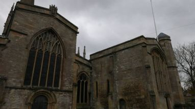 West façade on left and the Lady Chapel on right.
