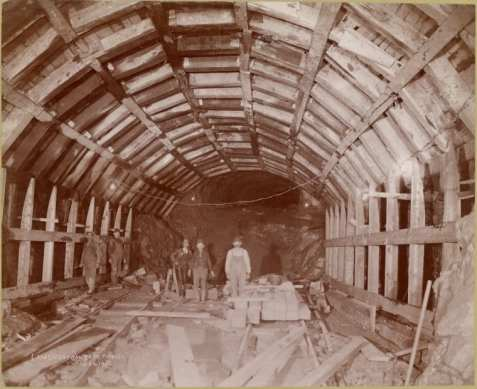 "Figure 17. ""Central Park Tunnel."" Miners carve a future subway tunnel under the park in 1902."