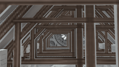 Rafters inside roof