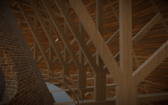 Interior of wood rafters