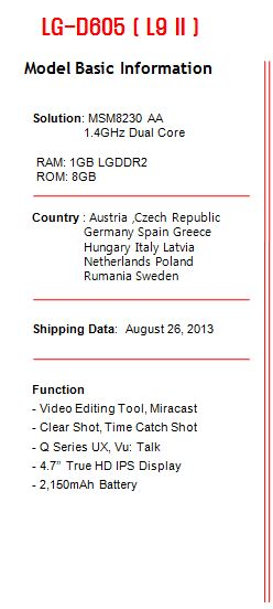 LG Optimus L9 II (LG D605) to release in September for Europe.