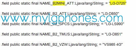 LG G3 Mini for AT & T (Model:LG-D725) Spotted Online