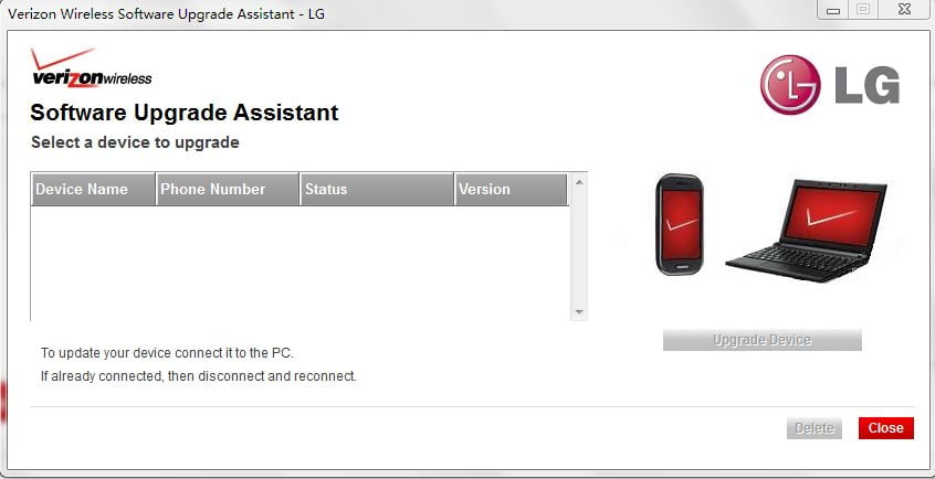 Verizon Wireless Software upgrade assistant Tool [LG G2]