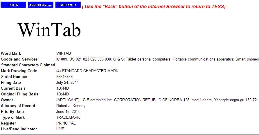 Trademark filings reveal possible LG Windows 8 Tablet