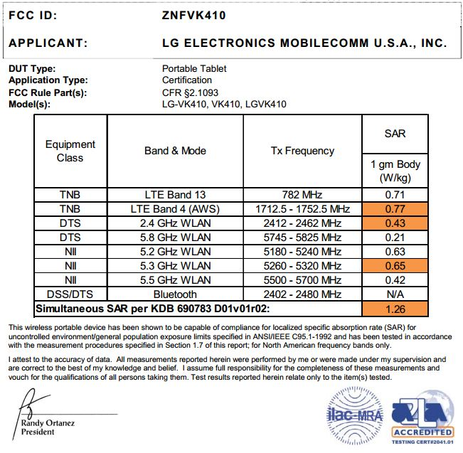 Verizon LG G pad 7.0 with LTE (LG-VK410) gets FCC Approval