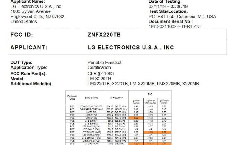 LG LMX220TB (X220TB) for T-mobile Receives FCC Approval - My LG Cell