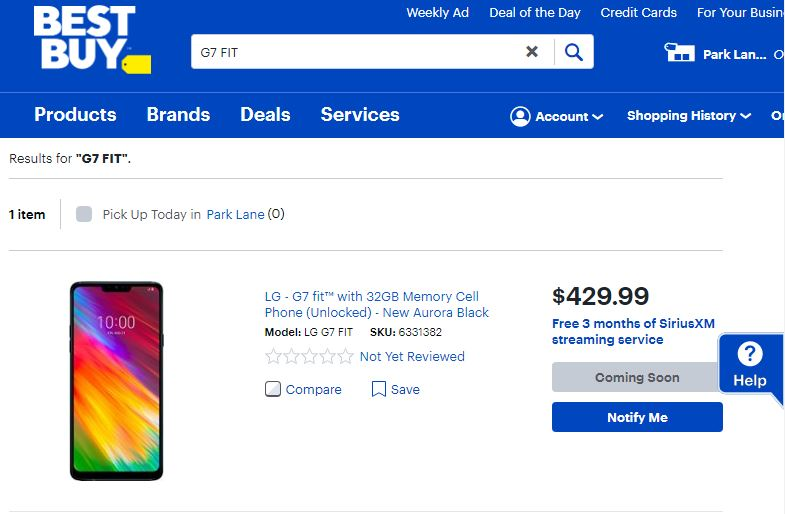 """LG G7 FIT Q850QM Listed as """"Coming Soon"""" On BestBuy Website"""