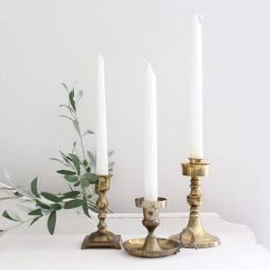 brass- candlesticks- vintage- centerpiece- table setting- home decor