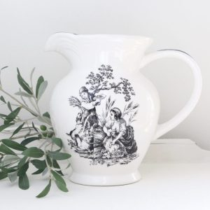 black and white pitcher, New England, dinnerware, vintage, home decor, tableware, farmhouse. cottage