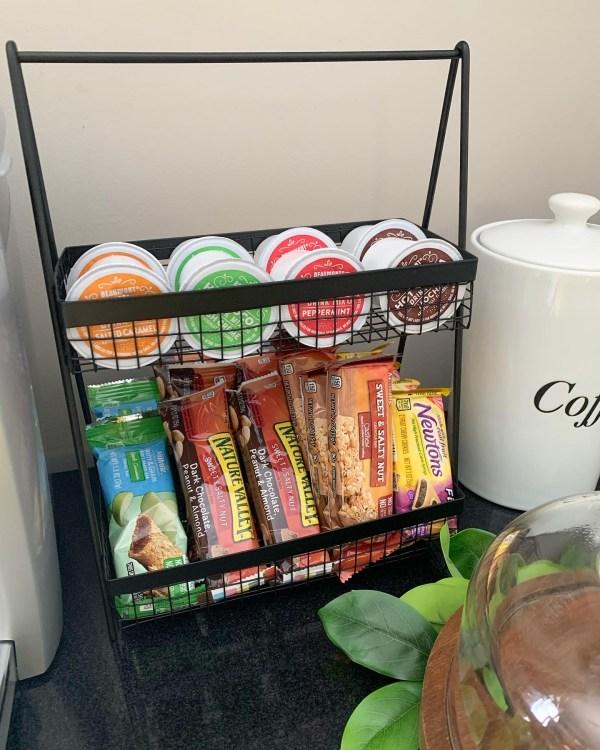 Organzing coffee bar with snacks and granola bars
