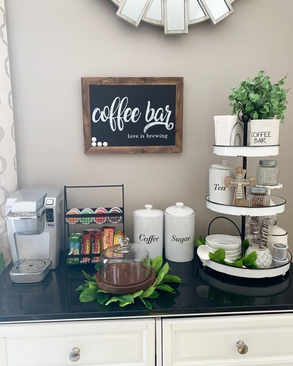 Neutral coffee bar and tea station