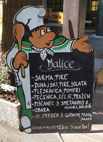 Choose from several different menu's for €5,90