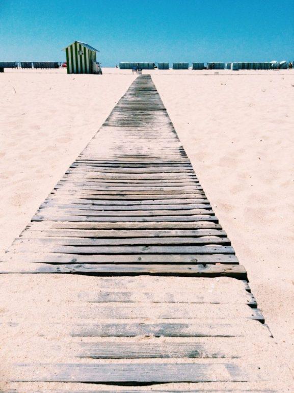 Boardwalk to Figueira da Foz beach Portugal